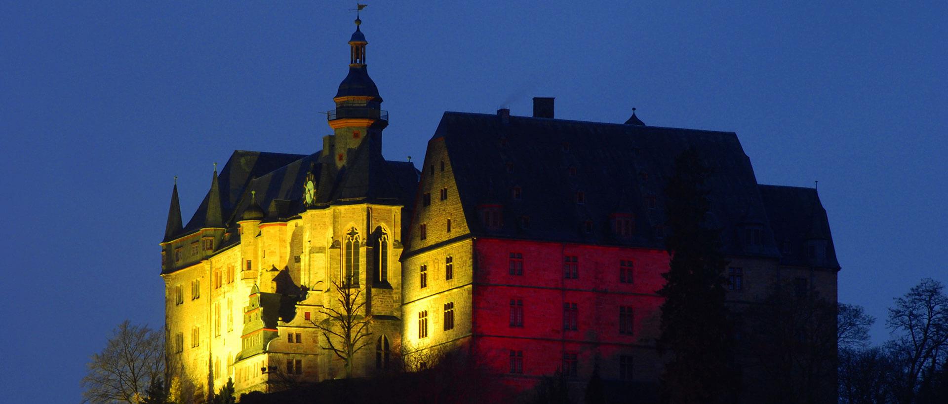 Blick auf das Landgrafenschloss bei Nacht, Credit Georg Kronenberg