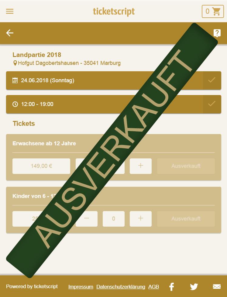 Die Tickets für die Landpartie 2018 sind leider ausverkauft